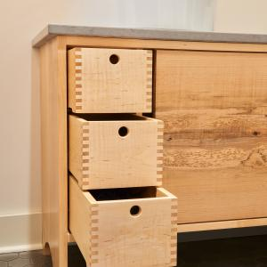 """Curley Maple """"birdhouse"""" drawers"""